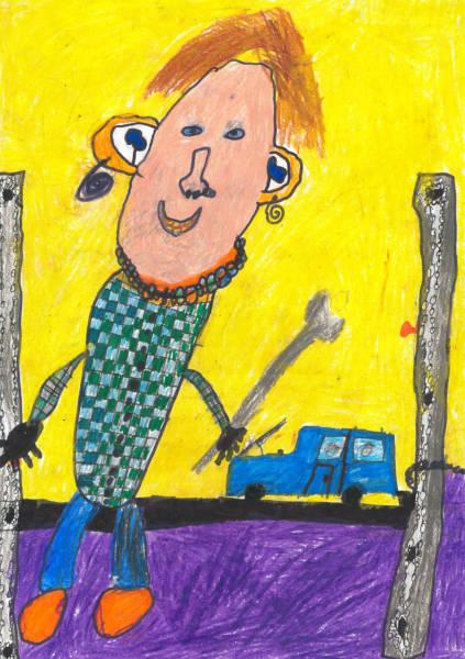 """Bildtitel: """"Mein Schwager als Mechaniker"""" Luis G., 9 Jahre, 2. Klasse, aus Unterwössen Bild eingereicht bei der Volksbank Raiffeisenbank Rosenheim-Chiemsee eG"""