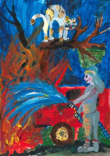 """Bildtitel: """"Mein Held: Feuerwehrkatzenretter"""" Lara, K., 9 Jahre, 4. Klasse, aus Idar-Oberstein Bild eingereicht bei der Volksbank Hunsrück-Nahe eG"""