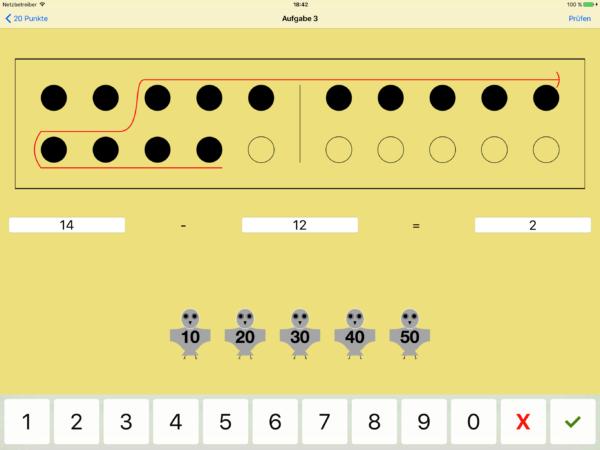 Die Schwierigkeit, eine Subtraktion visuell darzustellen, wurde durch die Verwendung von einem Pfeil im Punktefeld gelöst, der andeutet, wie viele Punkte von der Gesamtzahl abzuziehen sind. Die Kraft der Fünf und die Zehnerstruktur können für die Gesamtanzahl wie auch für die abzuziehenden Punkte genutzt werden.