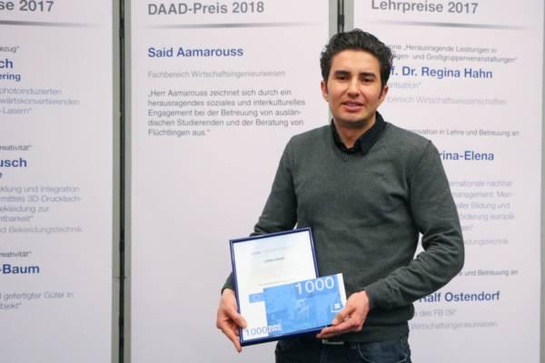 DAAD-Preisträger Said Aamarouss hat sich an der Hochschule Niederrhein einen guten Namen erarbeitet.